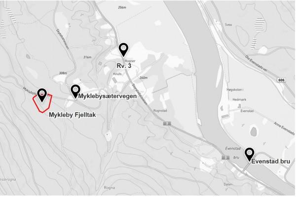 1533 - Mykleby fjelltak - kartutsnitt